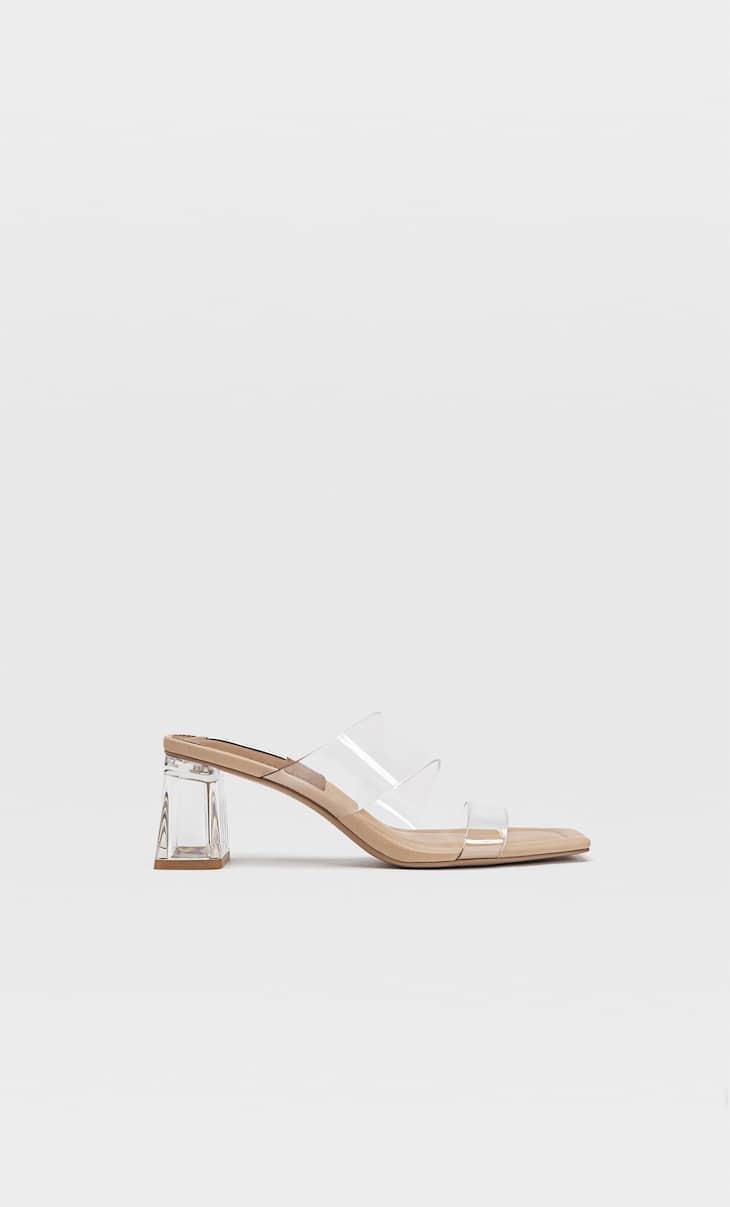 Sandales à talon en vinyle
