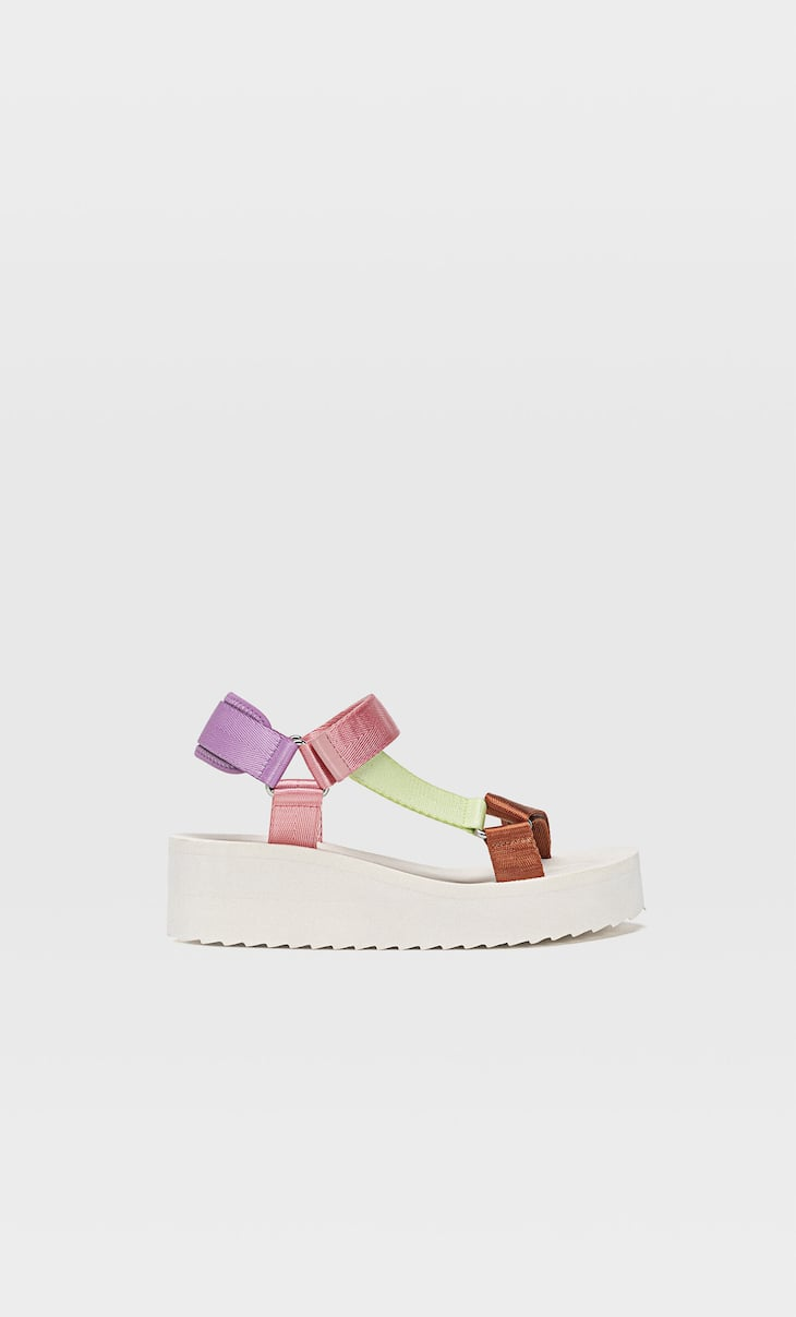 Multicoloured flatform sandals