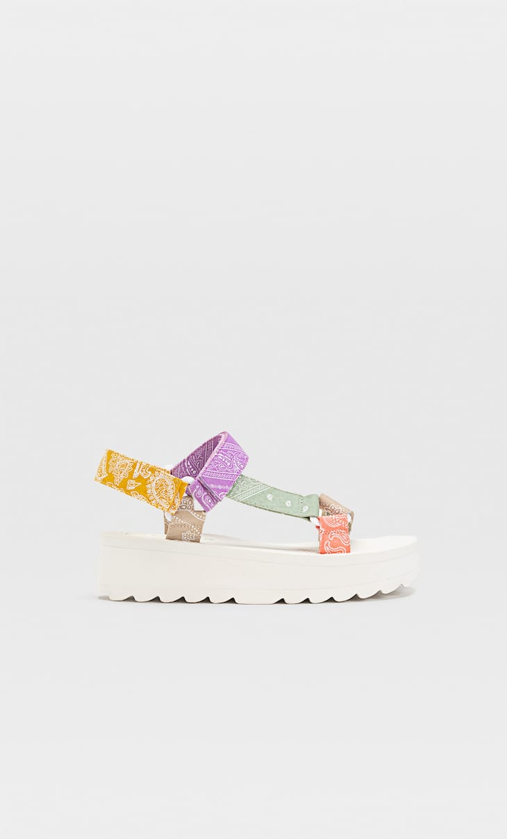 Multicoloured flatform sandals